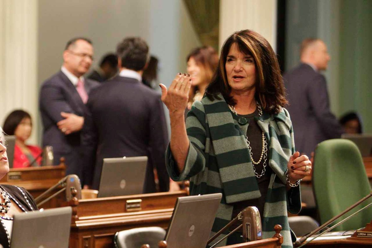 Diane Harkey speaks on the Assembly floor.
