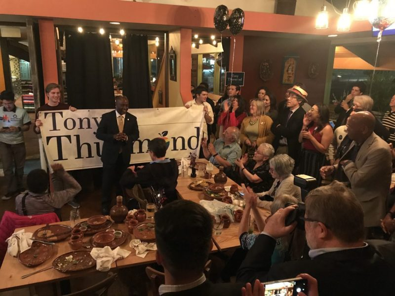Democratic Assemblyman Tony Thurmond addresses supporters at his watch party in El Cerrito. Photo by Jessica Calefati for CALmatters