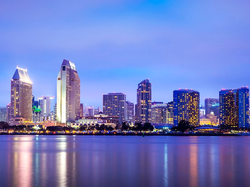 The city skyline in San Diego County, California, is shown.