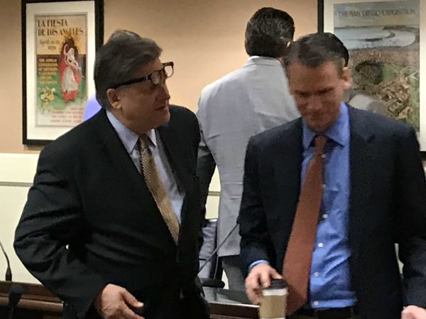 State Sen. Robert Hertzberg with Alastair Mactaggart after privacy-related legislation passed an Assembly committee in June 2018. Photo for CALmatters by Dan Morain