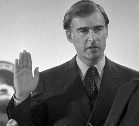 Jerry Brown being sworn in for the second of his four terms as California governor. Photo by ASSOCIATED PRESS