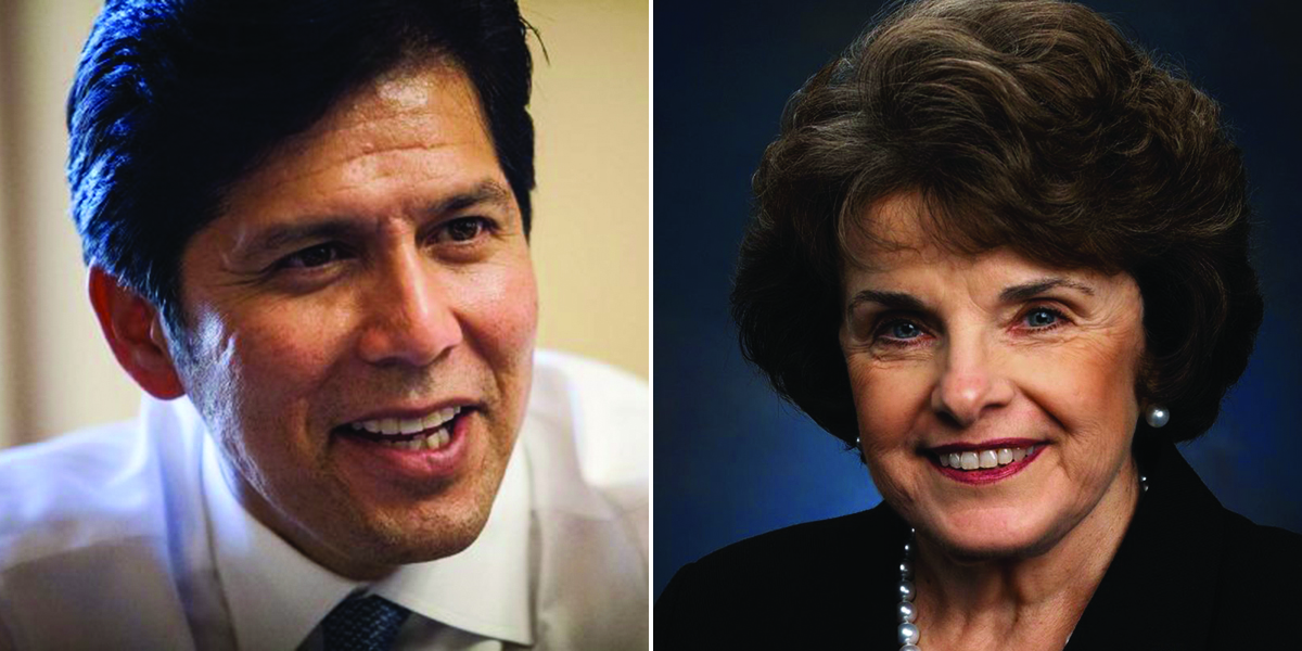 Kevin de Leon (left) and Dianne Feinstein (right) are shown in this composite image.