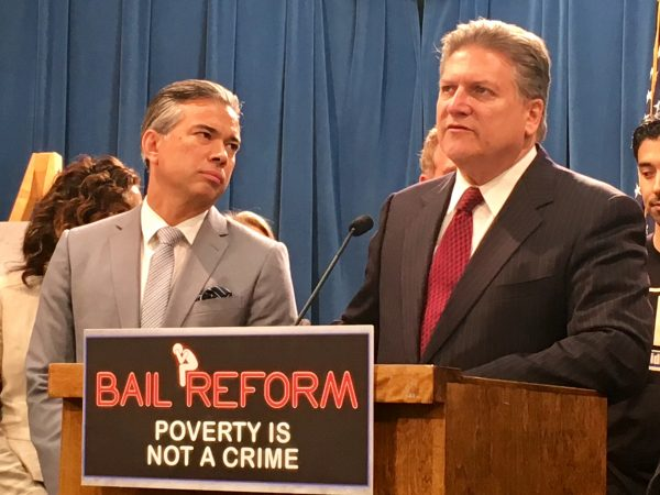 Photo of Assemblyman Rob Bonta and Sen. Bob Hertzberg, co-authors of SB 10