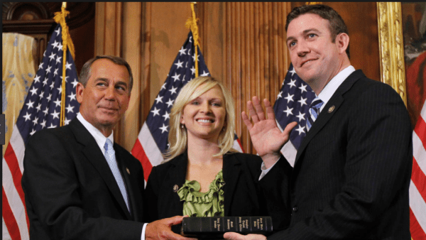 GOP Rep. Duncan Hunter being sworn into Congress, alongside his wife.