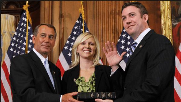 GOP Rep. Duncan Hunter being sworn into Congress, alongside his wife.