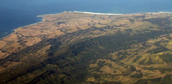 Gaviota Coast and Point Conception, looking northwest. Much of the land in the lower half of the photo is on the old Hollister Ranch. Photo via Creative Commons by Doc Searls