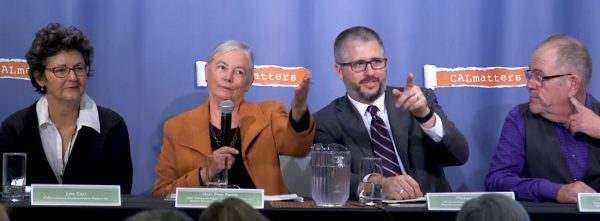 Panelists assess California's successes and shortcomings as a climate policy pioneer at a CALmatters panel, one of the ancillary events at the global climate summit underway in San Francisco. From left, Julie Cart, Fran Pavley, Michael Shaw and V. John White.