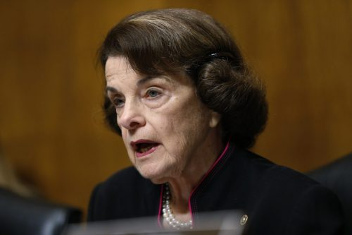 Ranking member Sen. Dianne Feinstein, D-Calif., talks as Christine Blasey Ford testifies before the Senate Judiciary Committee. Photo by Michael Reynolds/Pool Image via AP