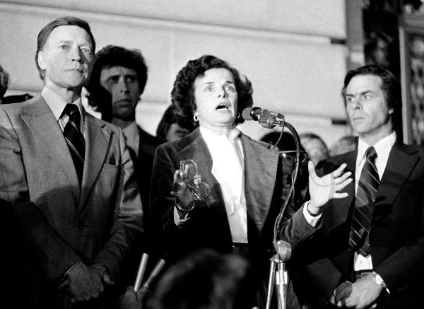 Acting Mayor Dianne Feinstein addresses the more than 25,000 people jammed around San Francisco's City Hall, Nov. 28, 1978 as city residents staged a spontaneous memorial service for slain officials Mayor George Moscone and Supervisor Harvey Milk. Photo by AP