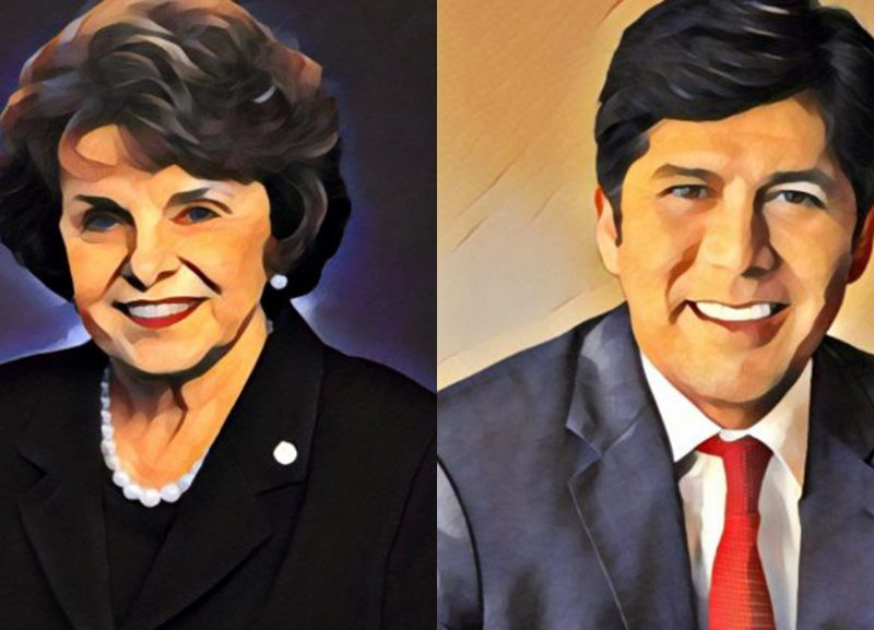 U.S. Sen Dianne Feinstein and California Sen. Kevin de León