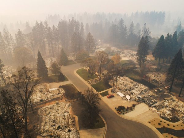PARADISE, CA - NOVEMBER 15: Aerial footage shows homes destroyed by the Camp Fire near the Paradise Plaza off Clark Road in Paradise, California, on Thursday, November 15, 2018. (LiPo Ching/Bay Area News Group)