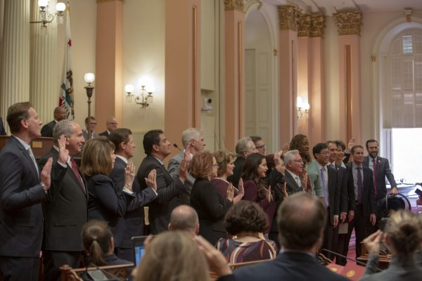 California Senate swearing-in ceremony for the 2019 legislature.