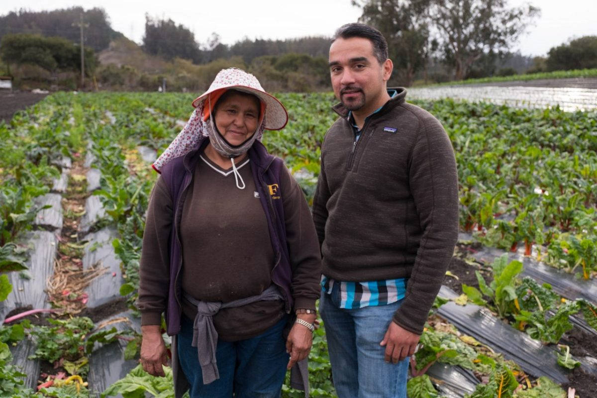 Farm owner Bertha Magaña and her Kitchen Table Advisor, David Mancera, at Magaña's farm in Prunedale. Photo by Andrew Nixon, Capital Public Radio