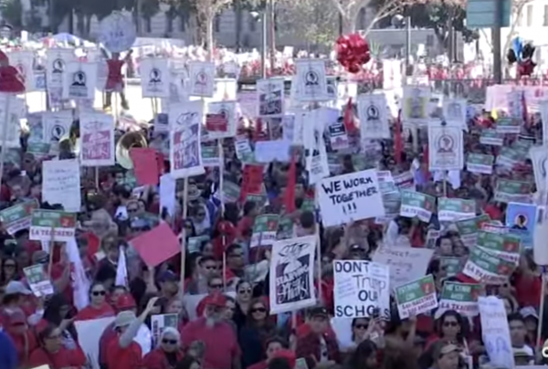 LAUSD teachers march in solidarity in mid-December in downtown Los Angeles as a threatened January 10 strike date looms.