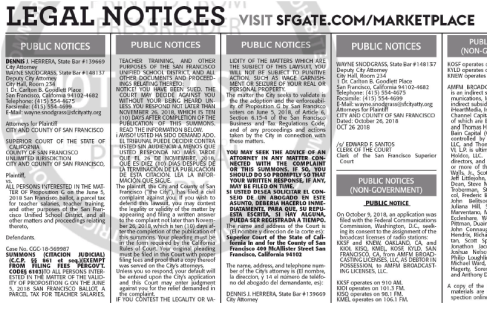 Digitized version of a San Francisco Chronicle ad taken out by the city attorney office. The ad invites interested parties to sue the city over its decision to certify Measure G.