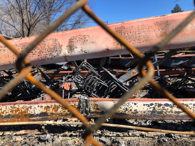 Burned school chairs from the 2018 Camp Fire in Paradise, California. March 2019. Photo by Byrhonda Lyons/CALmatters.