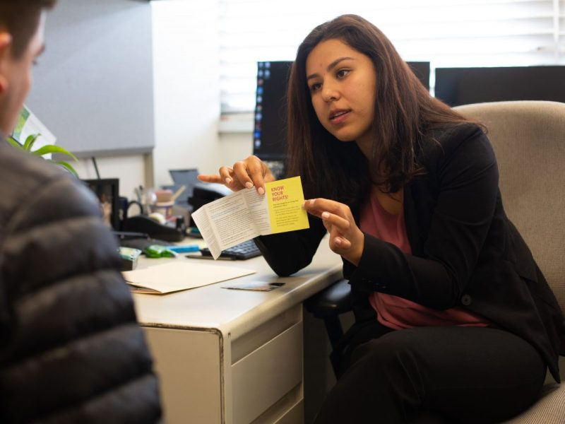 Karina Gutierrez, a full-time immigration lawyer at University of California Riverside, helps students understand their legal status through consultations at her office at the UC Riverside camps. Photographed on March 4, 2019 in Riverside, California. (James Bernal for Calmatters)