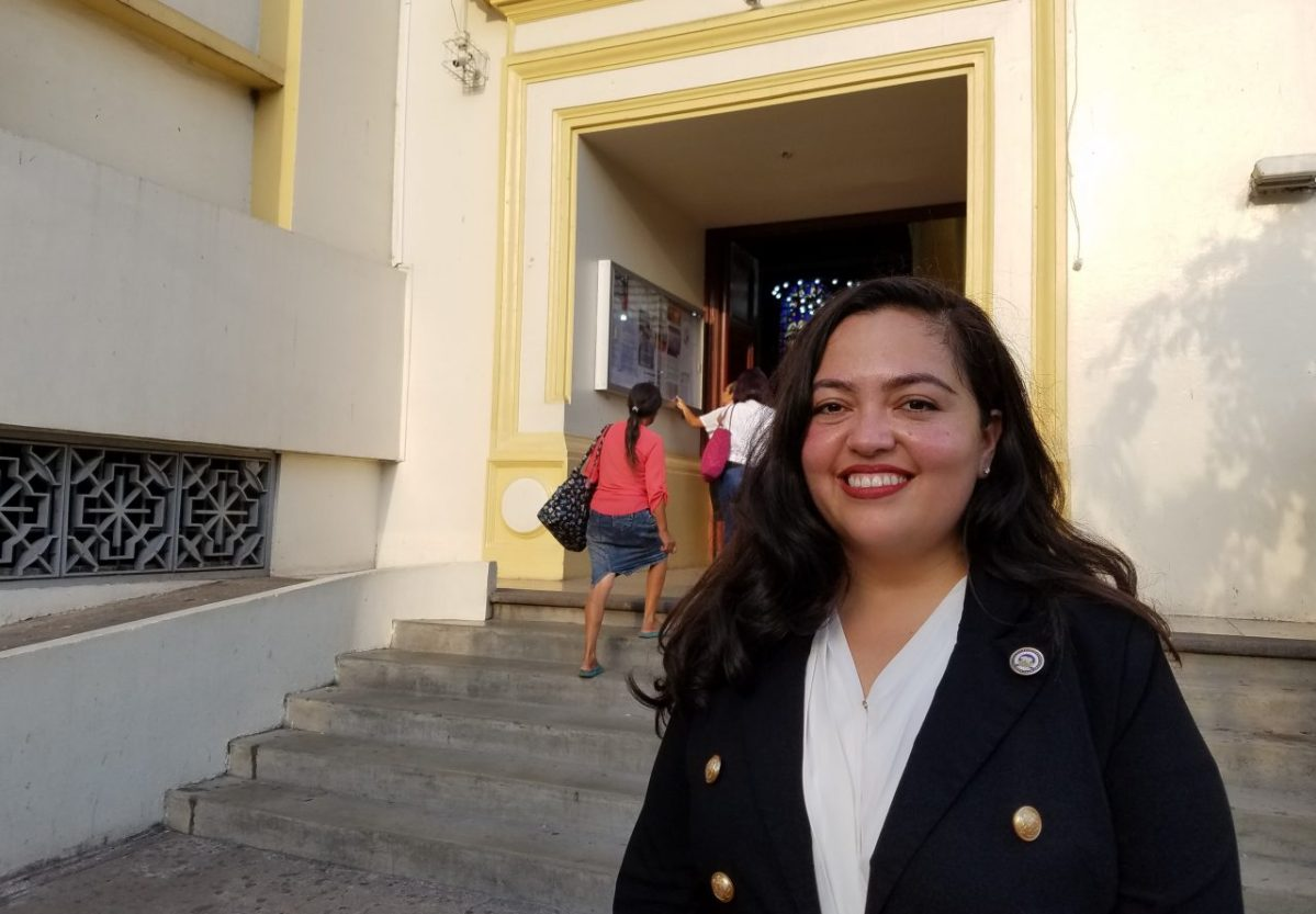 Assemblywoman Wendy Carillo in San Salvador , where she is accompanying Gov. Gavin Newsom on his first official international trip. Photo by Elizabeth Aguilera for CALmatters