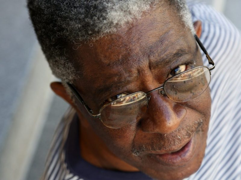 Willie Posey, 79, is still wearing his old glasses even though he has a new prescription, because Medi-Cal doesn't cover eyeglasses and he can't afford a new pair. Photo by Maria Avila for CALmatters