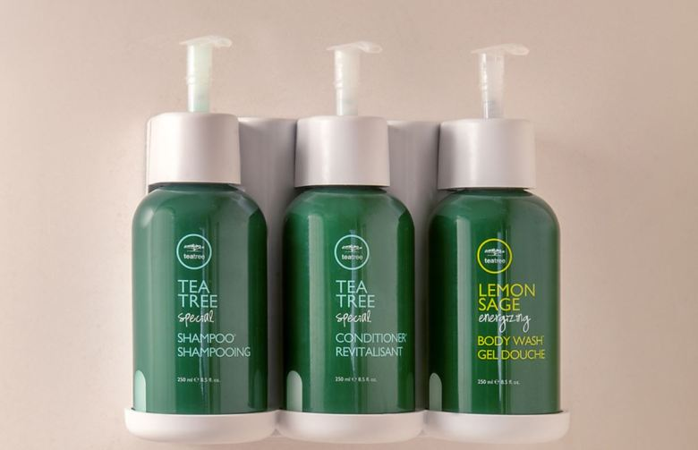 Photo of large shampoo, conditioner and body wash. The product is used at nearly 500 Marriott locations in North America.