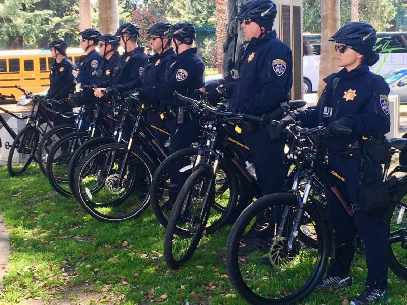 Police officers prepare for demonstrations near the Capitol over California's standard for justifying deadly force on March 14, 2019.