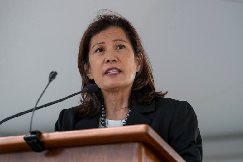 California Chief Justice Tani Cantil-Sakauye speaks during the Peace Officers' Memorial Ceremony in Sacramento, Calif. Monday, May 6, 2019. Photo by Randall Benton for CALmatters.