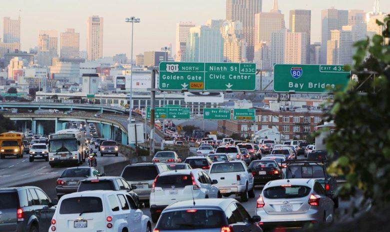 Cars stuck in traffic in San Francisco, California