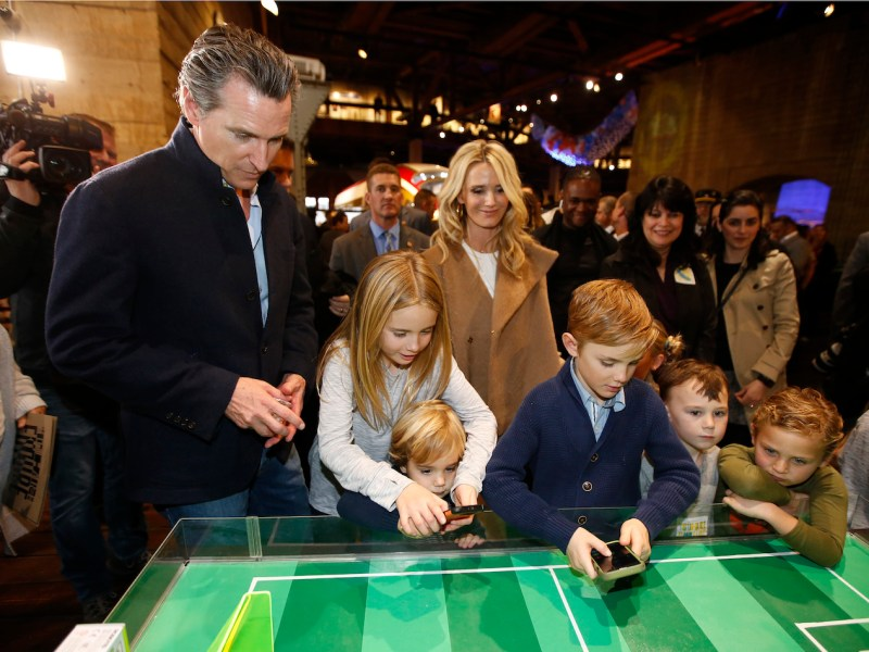 photo of gavin newsom with his family