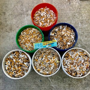 Flower pots filled with cigarette butts