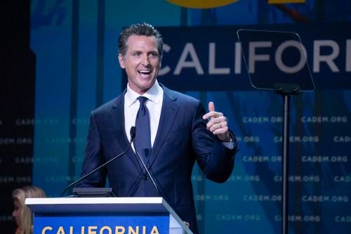 photo of gavin newsom at the California Democratic Convention