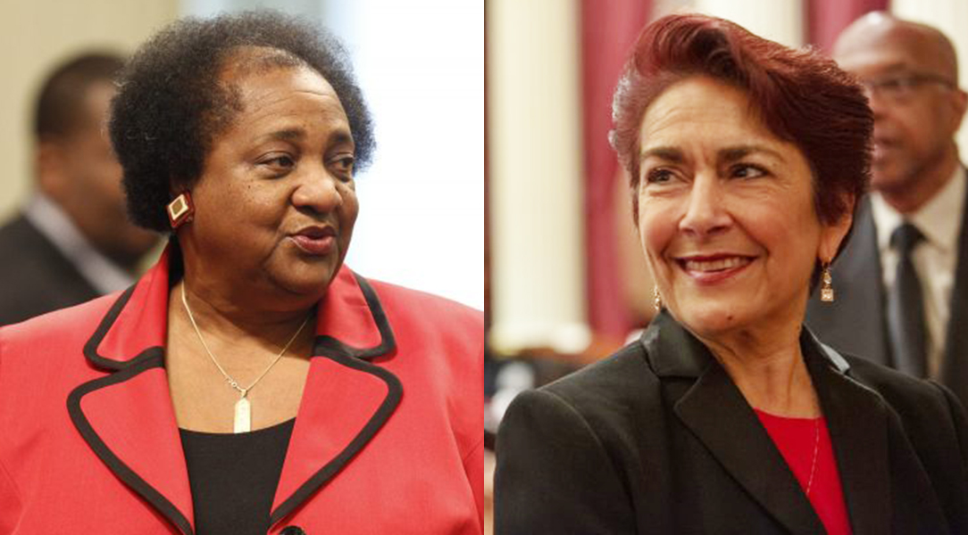 California Assemblywoman Shirley Weber (left) and State Sen. Anna Caballero are show in a composite—the debate over policing revealed their differences and a striking similarity
