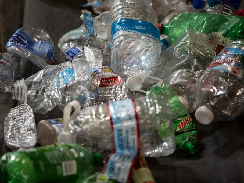 California recycling crisis: Accumulated plastic bottles at the greenwaste recycling facility on July 29, 2019. Photo by Anne Wernikoff/CalMatters