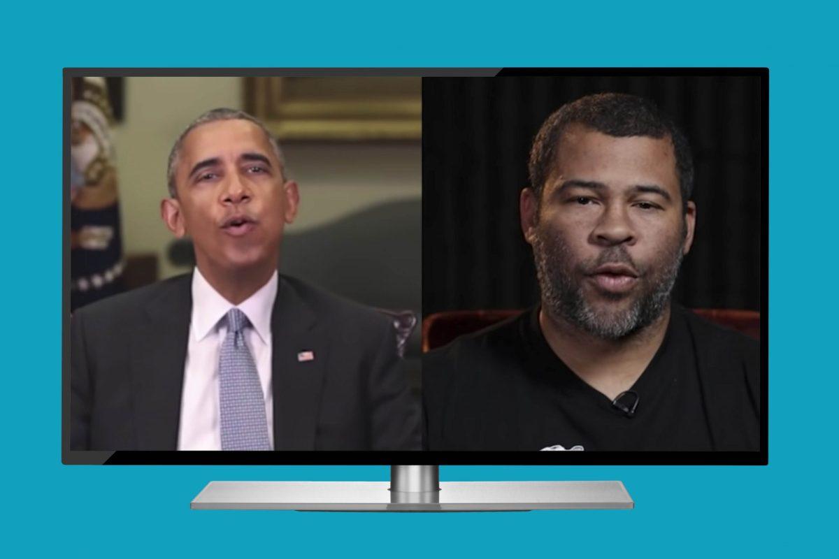 """Filmmaker Jordan Peele created a """"deepfake"""" video of former President Barack Obama.Filmmaker Jordan Peele created a """"deepfake"""" video of former President Barack Obama. Photo shows both depicted on a modern TV screen."""