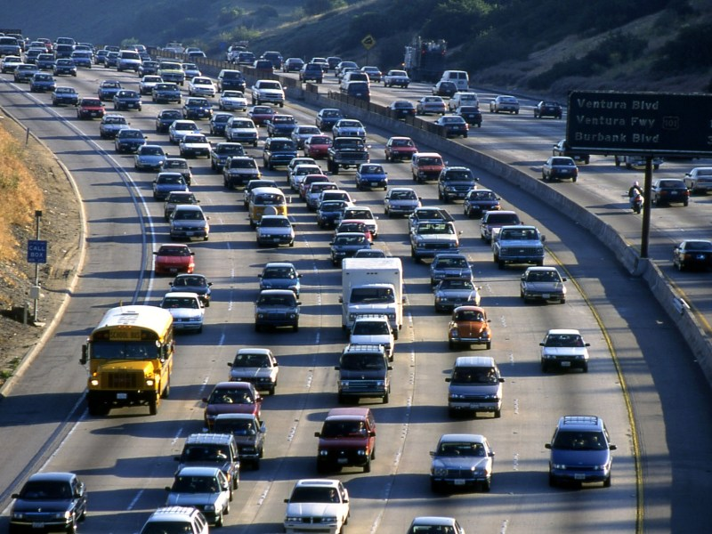 Cars on a Los Angeles Freeway.