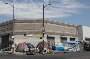 A tent encampment in the Skid Row district of Los Angeles on August 7, 2019. Photo by Anne Wernikoff for CalMatters