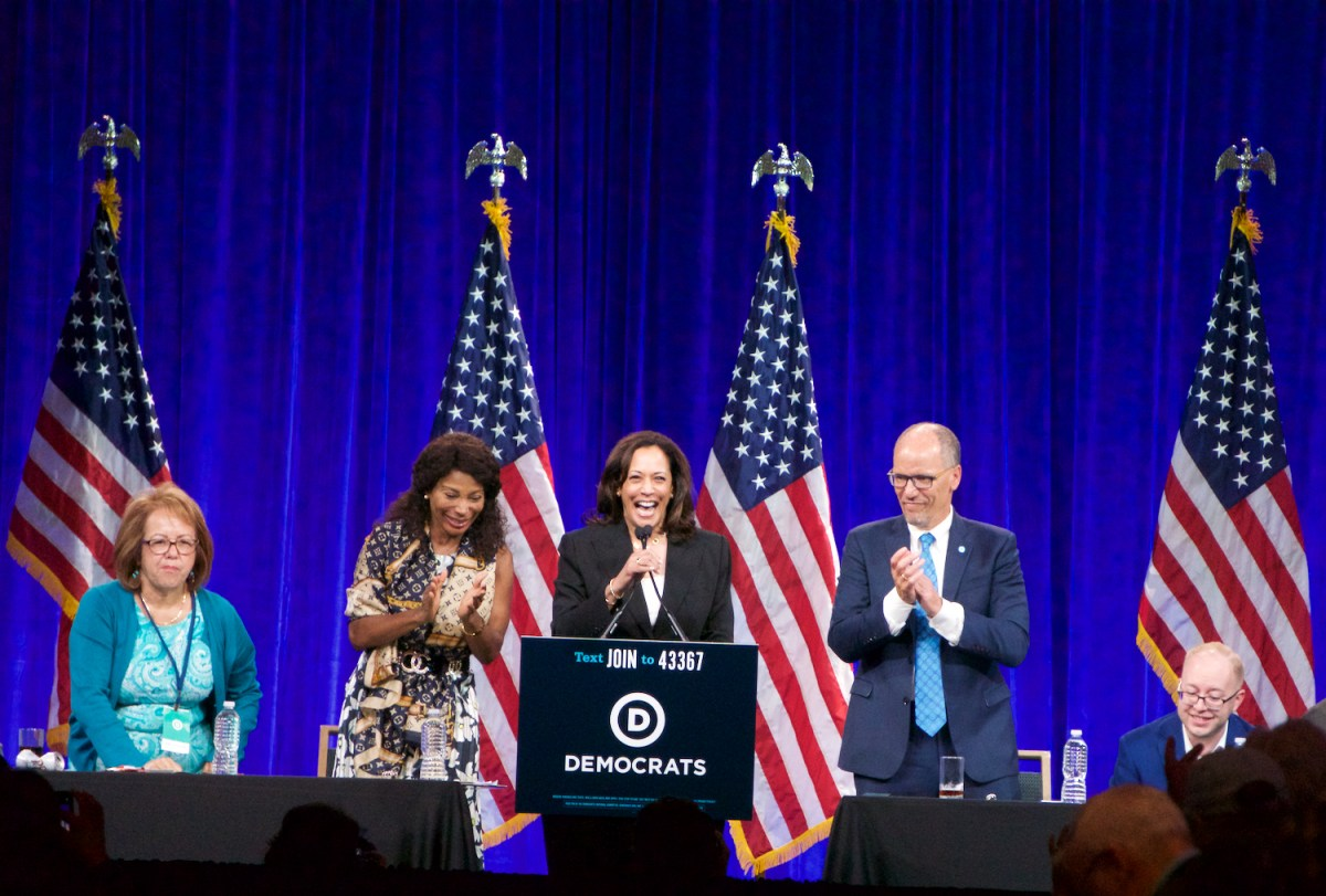 California Sen. Kamala Harris was among the 11 presidential hopefuls who addressed a San Francisco meeting of the Democratic National Committee — where talk of California issues was virtually absent. Photo by Ben Christopher for CalMatters