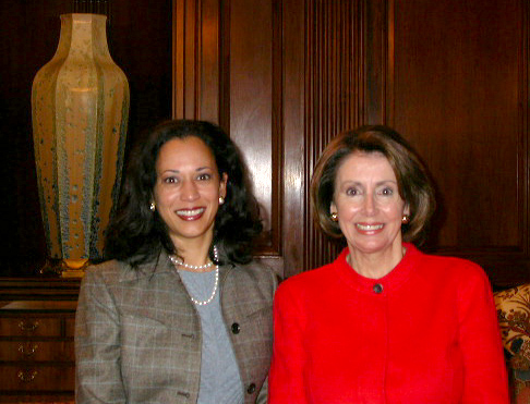 Kamala Harris, the newly-elected District Attorney of San Francisco, and then- and current-Speaker of the House Nancy Pelosi stand together for a photo in 2004.