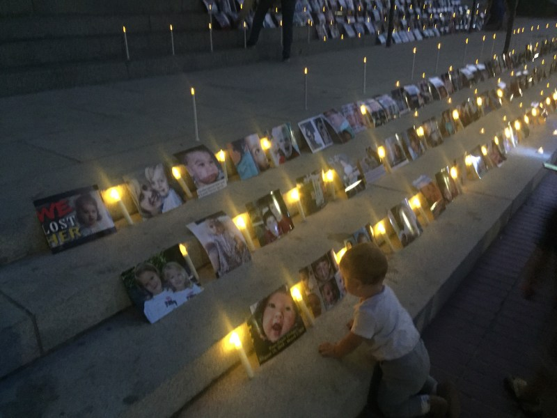 Candlelight vigil outside California's Capitol, in protest of a new vaccine law. Photo by Ben Christopher, CalMatters