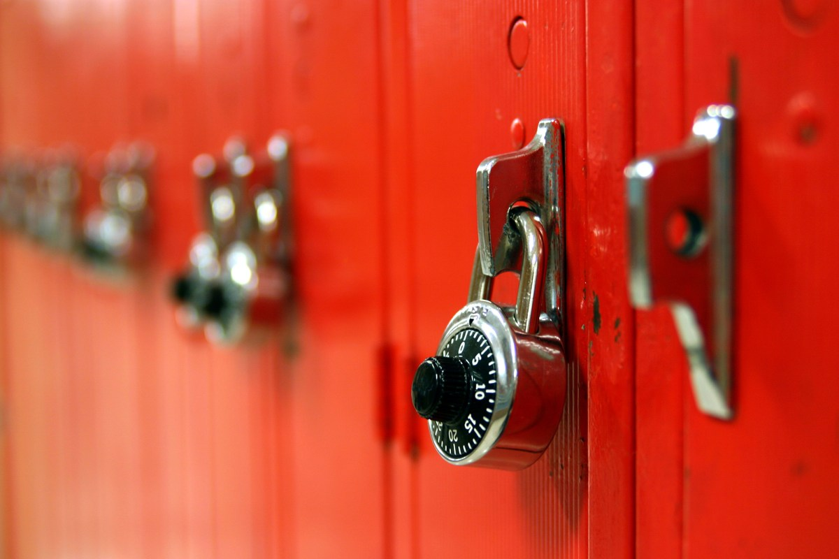 A photo of a row of red lockers. Photo by pablohart, Istockphotos.com