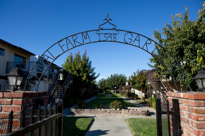 Canal Farm Gardens is a 59-unit apartment complex in Los Banos under renovation. A renter who now pays $850 a month for a two-bedroom will see the rent rise to more than $1200 — or face eviction. Photo by Anne Wernikoff for CalMatters