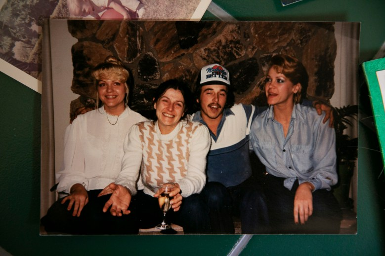 A family photo of Mark Rippee with his sister Linda, far left, and Catherine, far right before his traumatic brain injury.