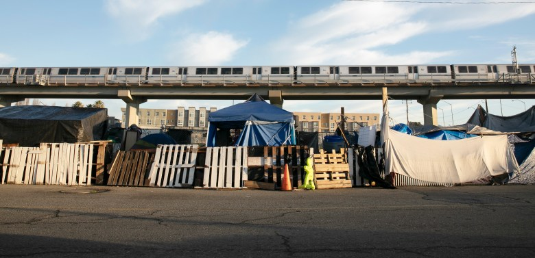 A tent encampment in West Oakland