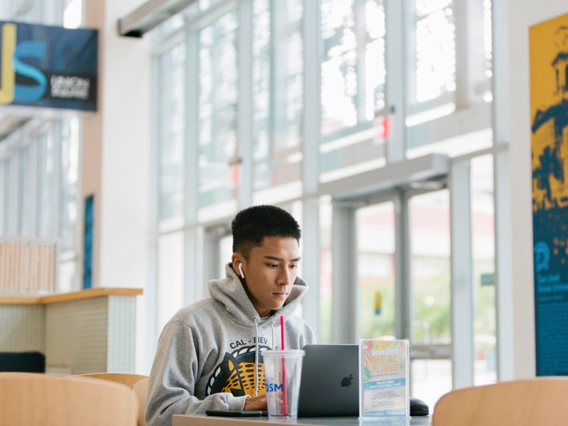 San Jose State University incoming freshman James Soberano, 17, plans to major in computer engineering and works in the student union on campus in San Jose, Calif., Thursday, July 25, 2019. Photo by Alison Yin for the Hechinger Report
