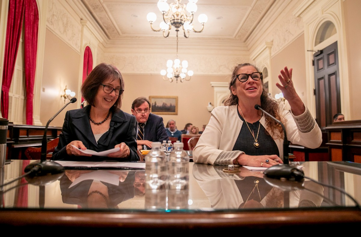 Abigail Disney, left, speaks in favor of Sen. Nancy Skinner's bill, SB 37, which would change the corporate tax rate to limit the earnings of CEOs in proportion to their workers