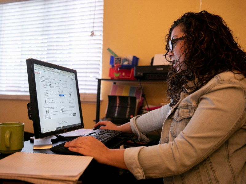 Maria Garcia does her CompTIA course work from her Antioch home. She is working toward a certificate in cyber security and hopes to one day become a penetration tester