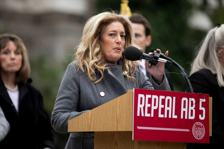 California Assembly minority leader Marie Waldron speaks at a rally to repeal AB 5