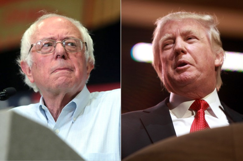 Bernie Sanders, left, and Donald Trump