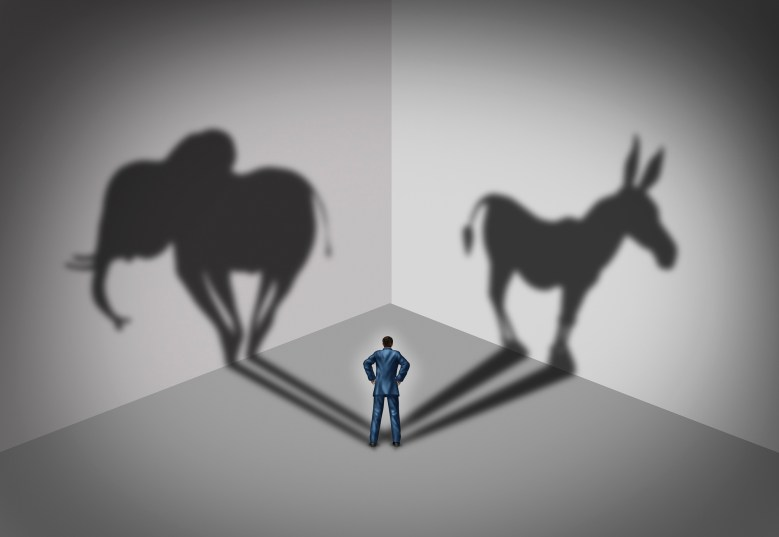 Man standing near a wall casting a shadow of an elephant and a donkey
