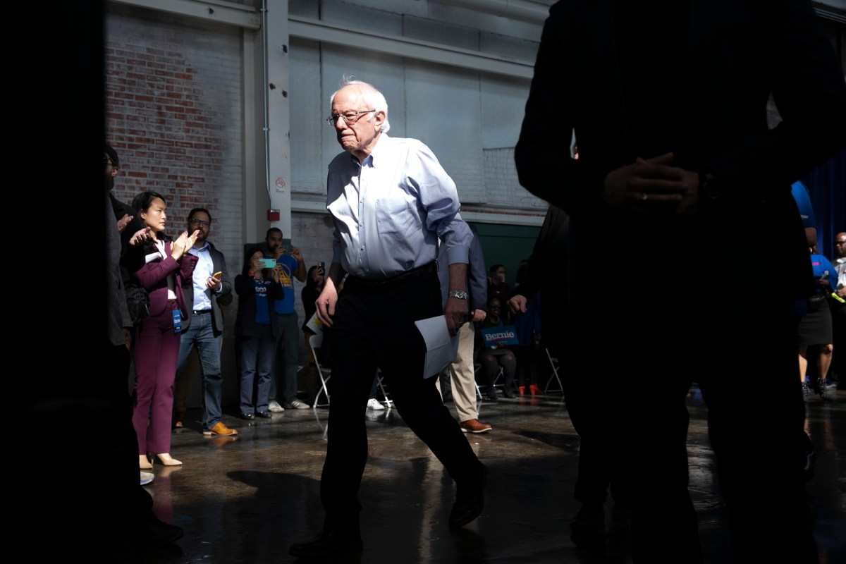 Sen. Bernie Sanders's won the California primary, but California didn't matter much in the march to a Democratic nominee. Here Sanders at a February campaign event at the Craneway Pavilion in Richmond. Photo by Anne Wernikoff for CalMatters