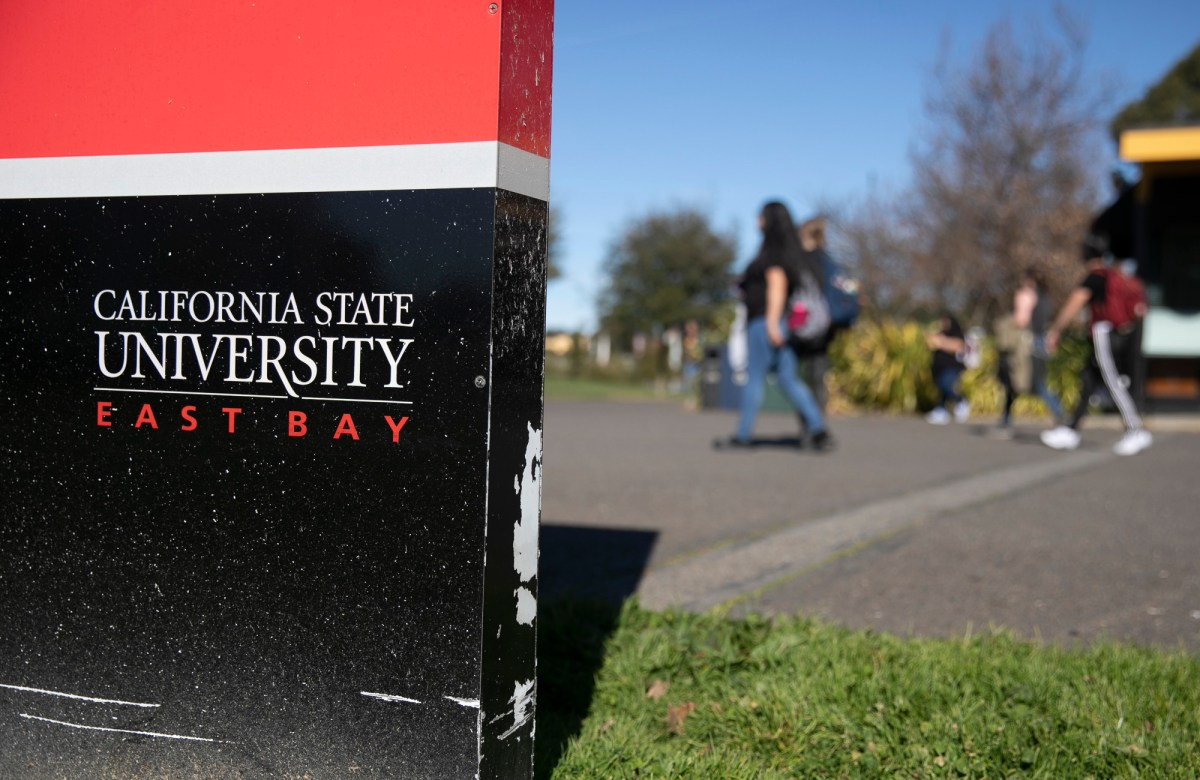 As the coronavirus has blown a hole in the state budget, California campuses such as California State University East Bay campus face budget cuts. Photo by Anne Wernikoff for CalMatters